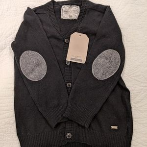 Zara boys button down cardigan with sleeve patches